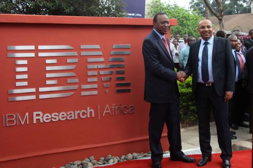 H.E. the President of Kenya, Hon. Uhuru Kenyatta (left) and Dr. Kamal Bhattacharya, Director IBM Research - Africa (right) at the opening of IBM's First Africa Research Laboratory.