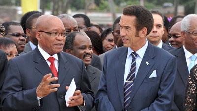 President Jacob Zuma  hosts his Botswana counterpart Ian Khama