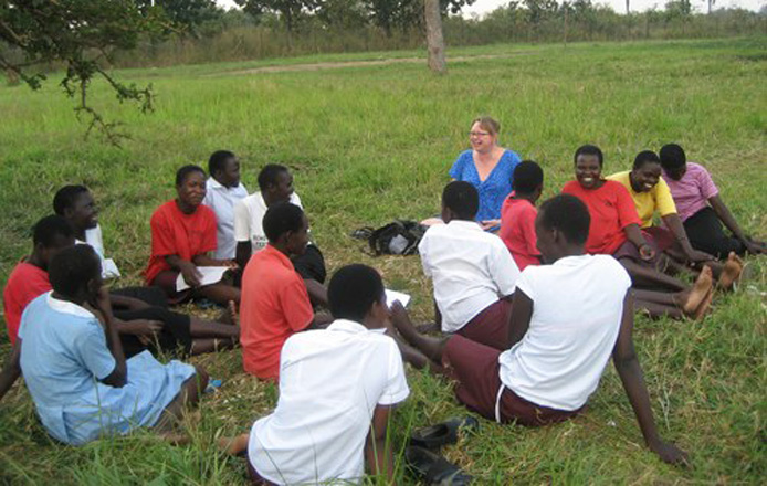 Anita Henderlight meets with students at the secondary school established through Africa ELI in South Sudan