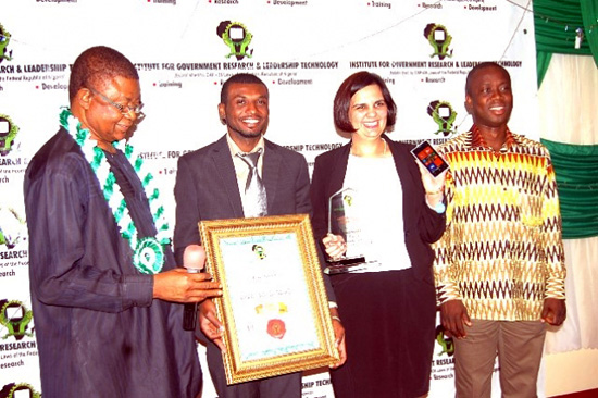 L-R: Deputy Chairman-in-Council, Institute for Government Research and Leadership Technology, Professor John Akanya OON, presenting the Most Innovative Smart Mobile Phone of the Year Award to Nokia representatives; Innovation Manager, Nokia Research Center, Nokia West Africa, Moses Acquah; Channel Marketing Manager, Nokia IMEA, Tushita Garga and Marketing Manager, Nokia Ghana, David Anku during the African Product Award 2013 held at Sheraton Hotel, Ikeja on Friday, December 13, 2013.