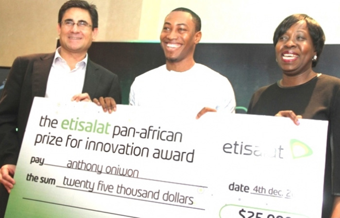 L-R: Chief Executive Officer, Etisalat Nigeria, Matthew Willsher; Winner, Etisalat Prize for Innovation (Ideas Category), Abdulganiyu Onabanjo and Member, Board of Innovators, Etisalat Pan-African Prize for Innovation, Funke Opeke, at the Etisalat Pan-African Prize for Innovation media reception