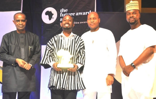 L-R: Boni Haruna, Minister of Youth Development; Sangu Delle, Co-Founder, Cleanacwa, Ghana and Winner Young Person of the Year Award endowed by UBA; Dr. Yinka Adedeji, Divisional Head, E-Banking, UBA Plc; Adebola Williams, Co-Founder of The Future Awards Africa, at the Future Awards ceremony in Lagos.
