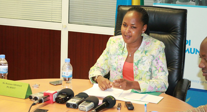 The Permanent Secretary in Ministry of Youth and ICT, Rosemary Mbabazi addressing the press on Thursday