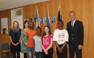 From left to right: Mrs Jana Wall, Mrs Corinna Burth, Mr Rodriquess Mauha, Ms Kabuba Masule, Ms Lindsay von der Merwe, Mr Vilho Nanyoka, Mr Ullrich Kinne