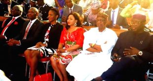 L-R: The President of Sierra Leone, Mr. Earnest Bai Koroma, Founder of the Tony Elumelu Foundation, Mr. Tony Elumelu, his wife, Dr. Awele Elumelu, Business Tycoon, Mrs. Folorunso Alakija, Minister of Information and Culture, Alhaji Lai Mohammed and the Minister of Solid Mineral Development, Dr. Kayode Fayemi at the 2016 Tony Elumelu Foundation Entrepreneurship Forum held in Lagos